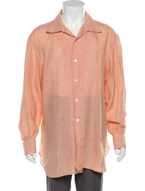 Kiton Linen Button-Up Shirt orange