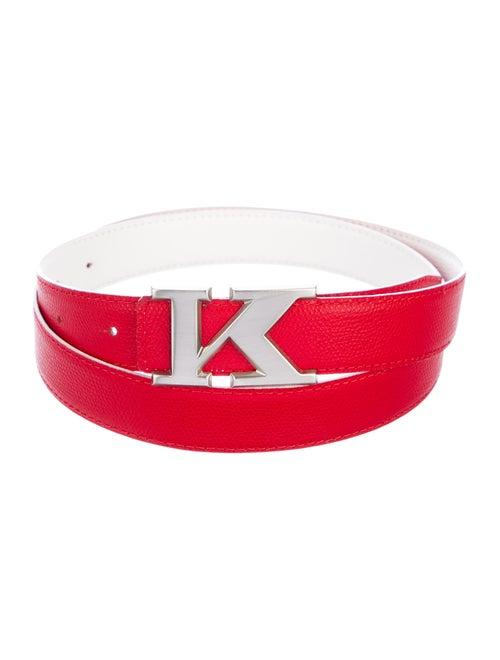 Kiton Leather Belt red