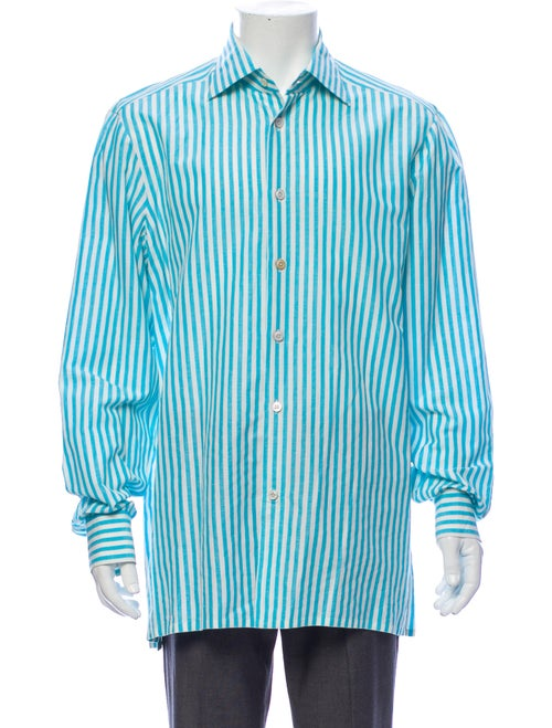 Kiton Linen Striped Shirt Blue