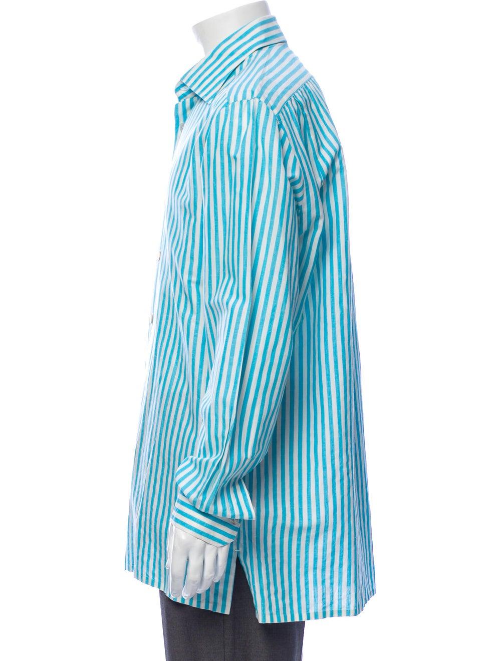 Kiton Linen Striped Shirt Blue - image 2