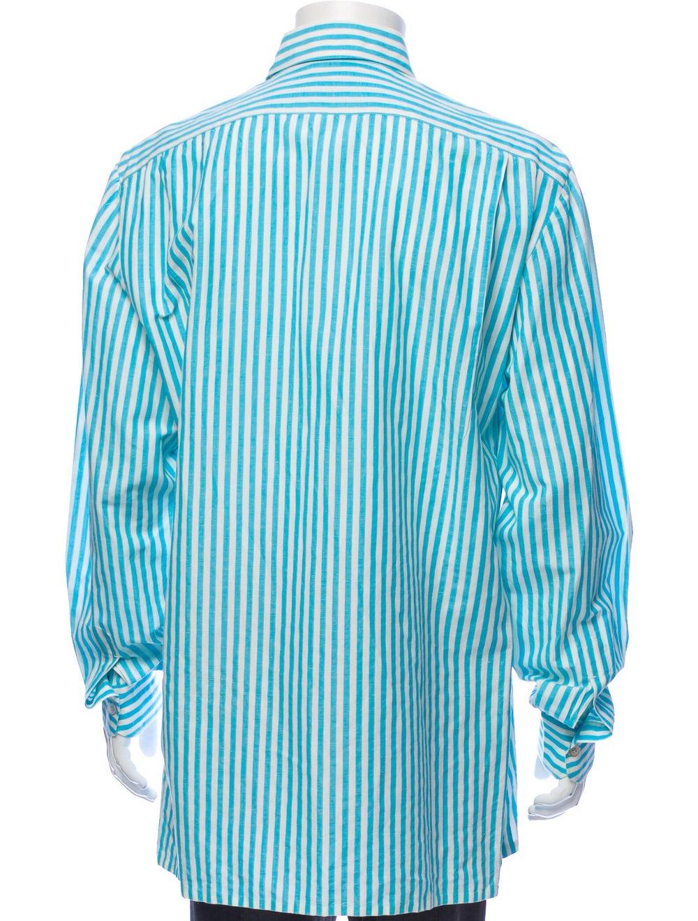 Kiton Linen Striped Shirt Blue - image 3