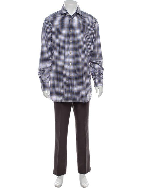 Kiton Plaid Print Long Sleeve Shirt Blue