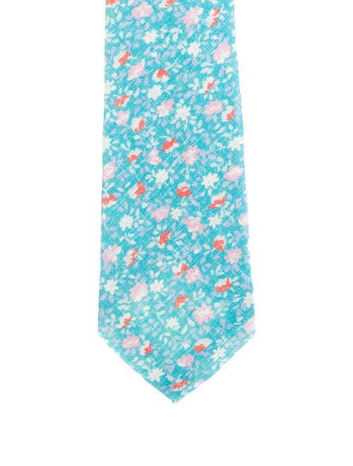 Kiton Floral Linen Tie w/ Tags blue