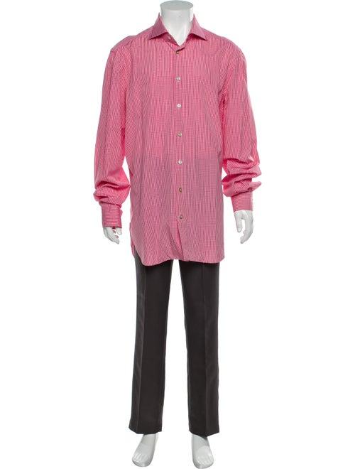 Kiton Plaid Print Long Sleeve Shirt Red