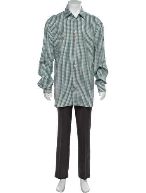 Kiton Plaid Print Long Sleeve Shirt Green