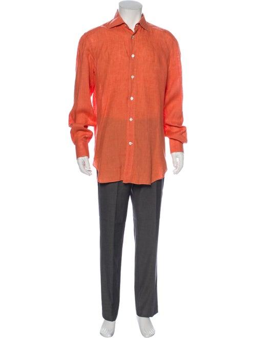 Kiton Linen Long Sleeve Shirt Orange