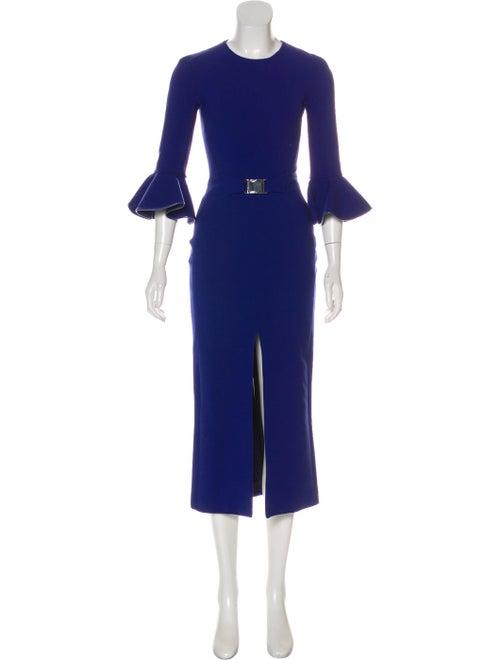 David Koma Bell Sleeve Midi Dress Blue