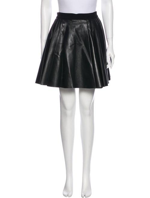 David Koma Pleated Leather Skirt Black
