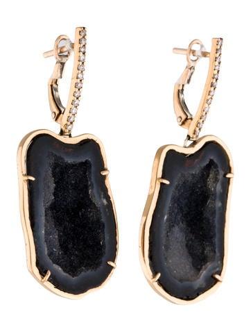 Diamond Geode Drop Earrings