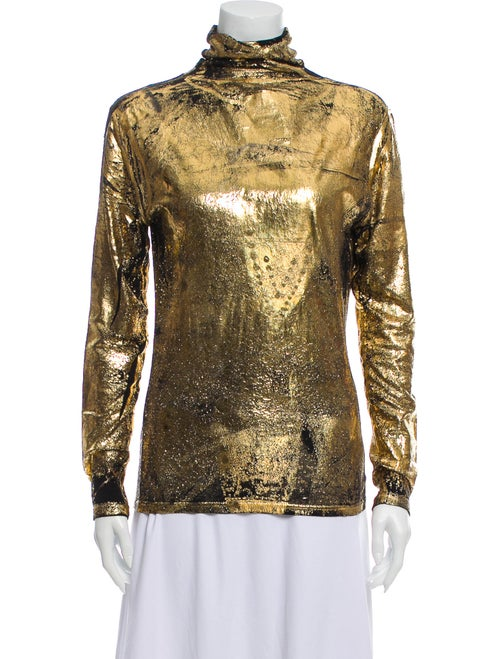 Koché Turtleneck Long Sleeve Top Gold