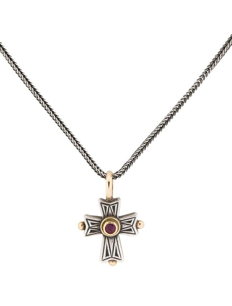 89a337e47803 Konstantino Ruby Cross Pendant - Necklaces - KON20209