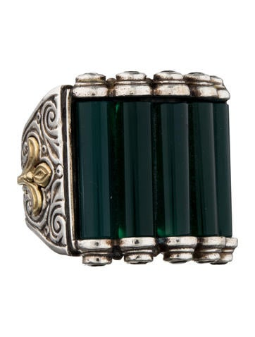 Green Agate and Onyx Ring