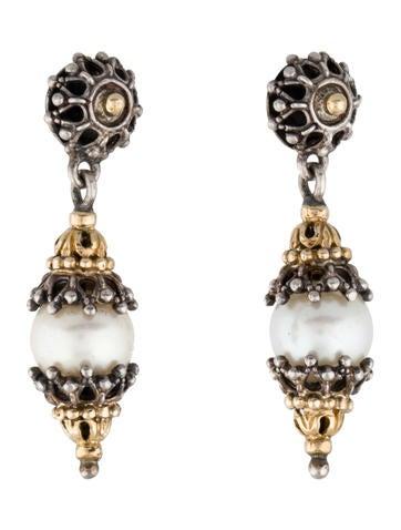 Two-Tone Pearl Drop Earrings