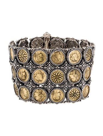 Two-Tone Wide Coin Bracelet