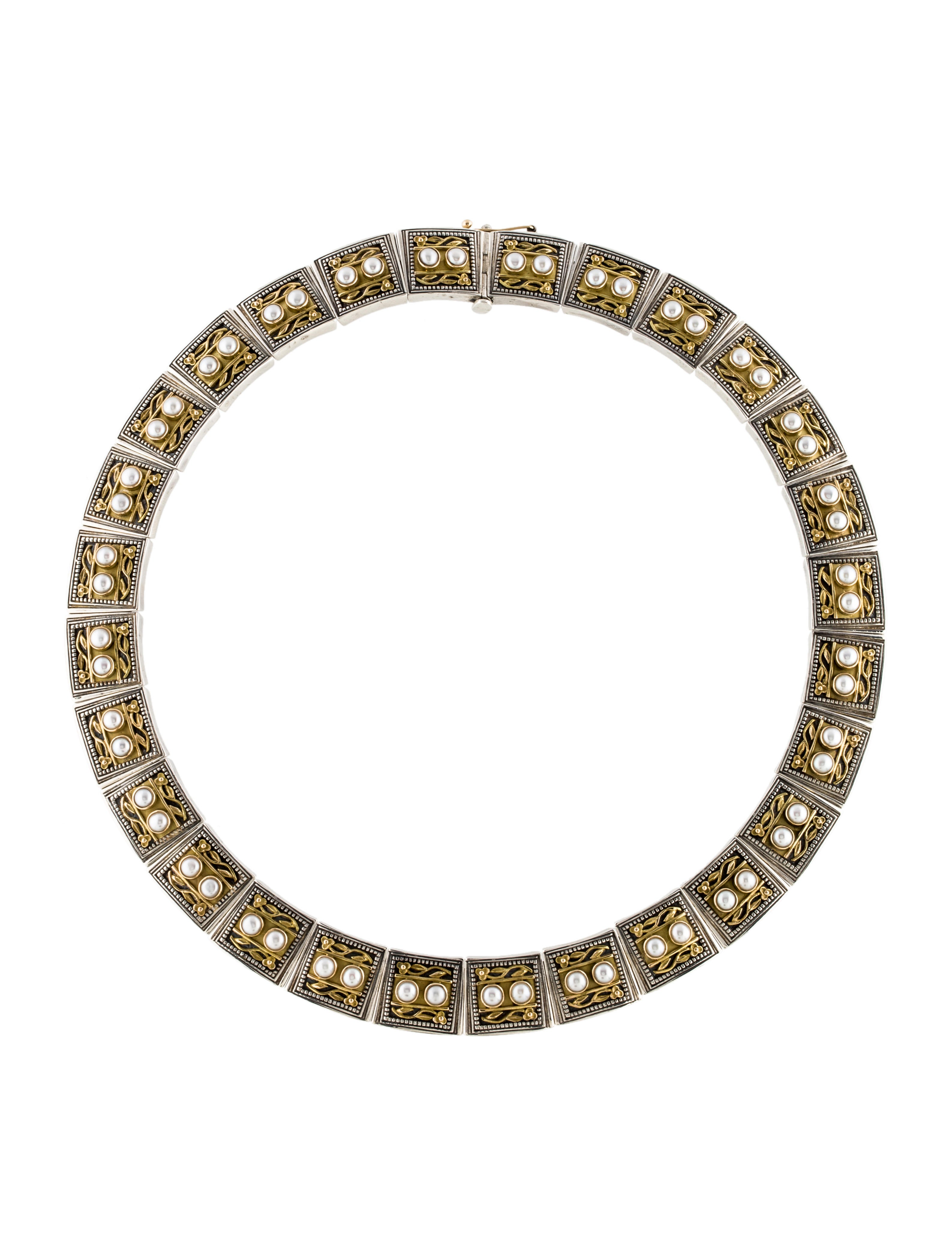 konstantino two tone pearl collar necklace necklaces