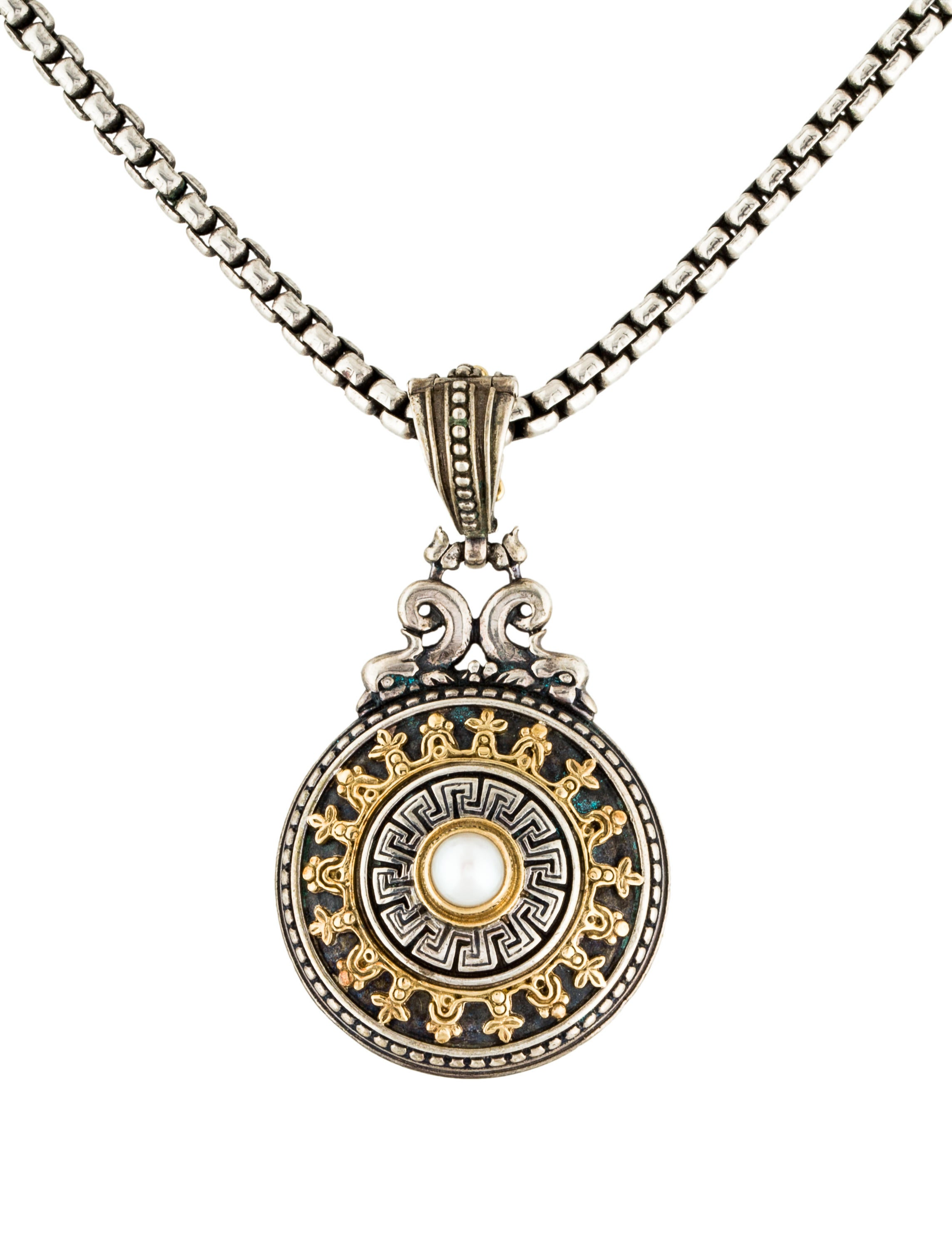 konstantino pearl medallion pendant necklace necklaces