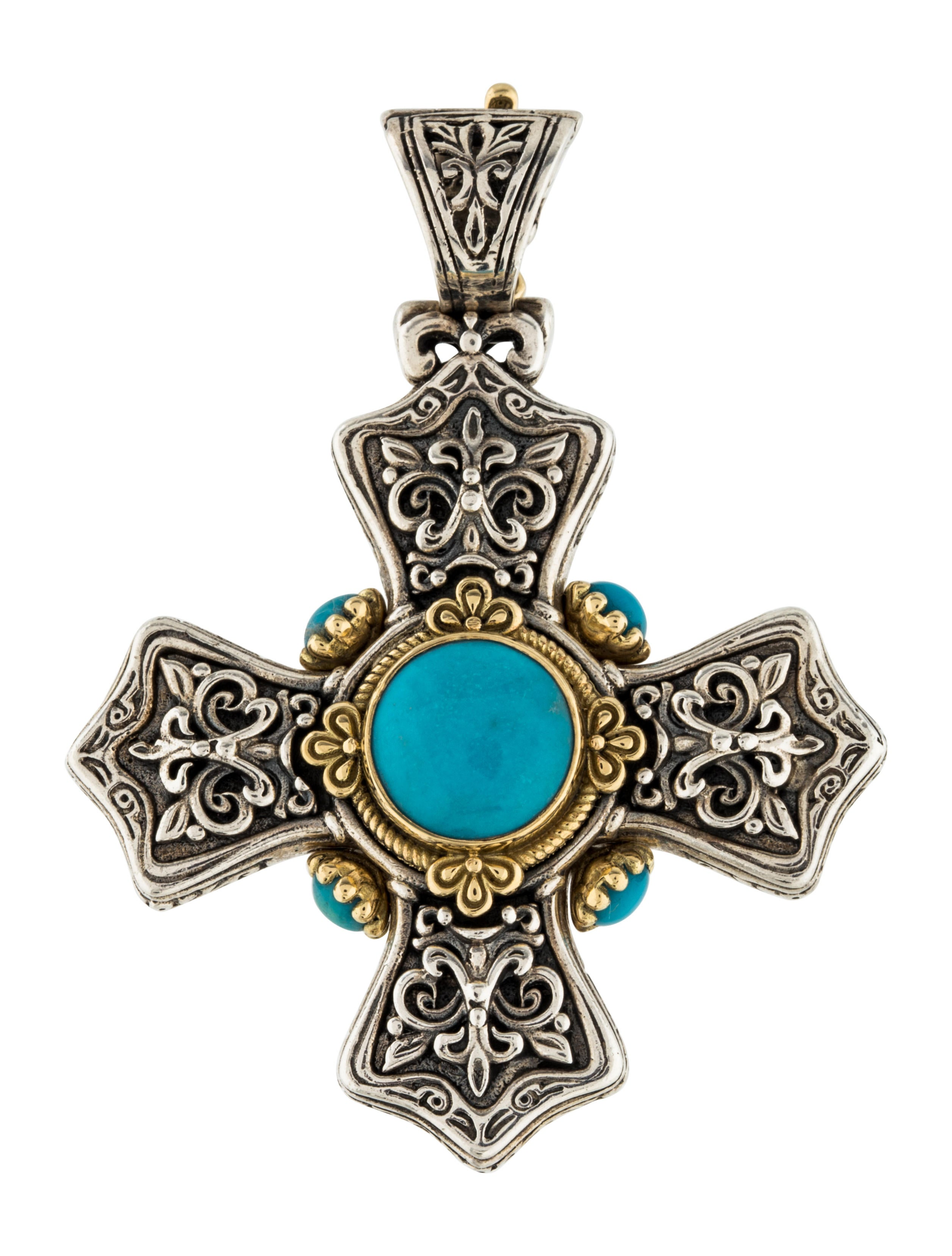 Konstantino turquoise cross pendant necklaces kon21577 for Black and blue jewelry cross necklace