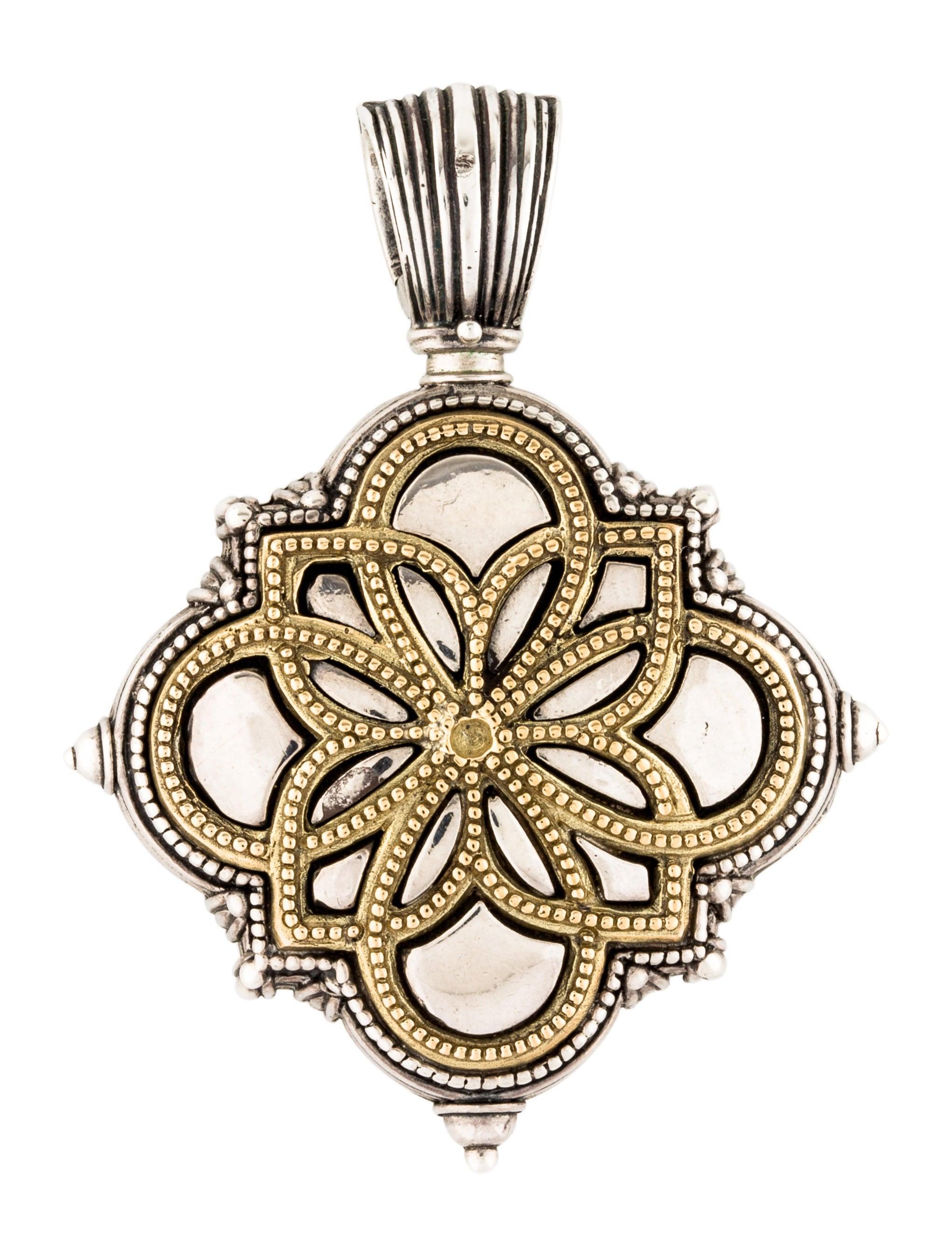 Konstantino two tone ornate locket pendant necklaces kon22000 two tone ornate locket pendant aloadofball Gallery