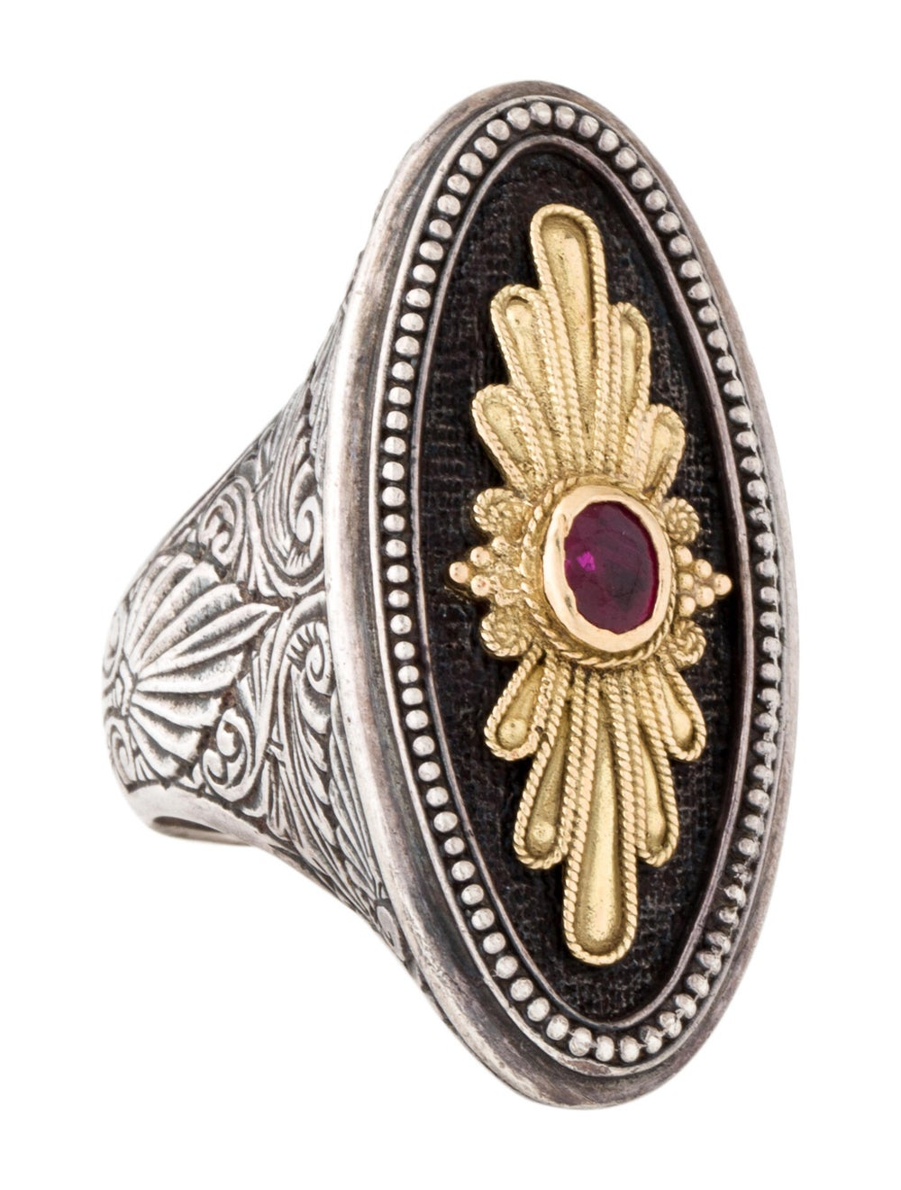 Konstantino Ruby Cocktail Ring Silver - image 1