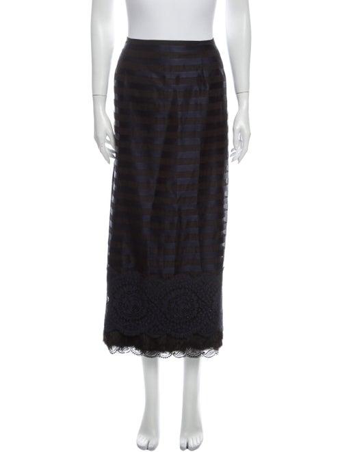 Koos Van Den Akker Silk Midi Length Skirt Blue