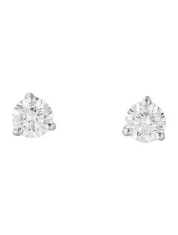 Kwiat Platinum Round Brilliant Diamond Stud Earrings