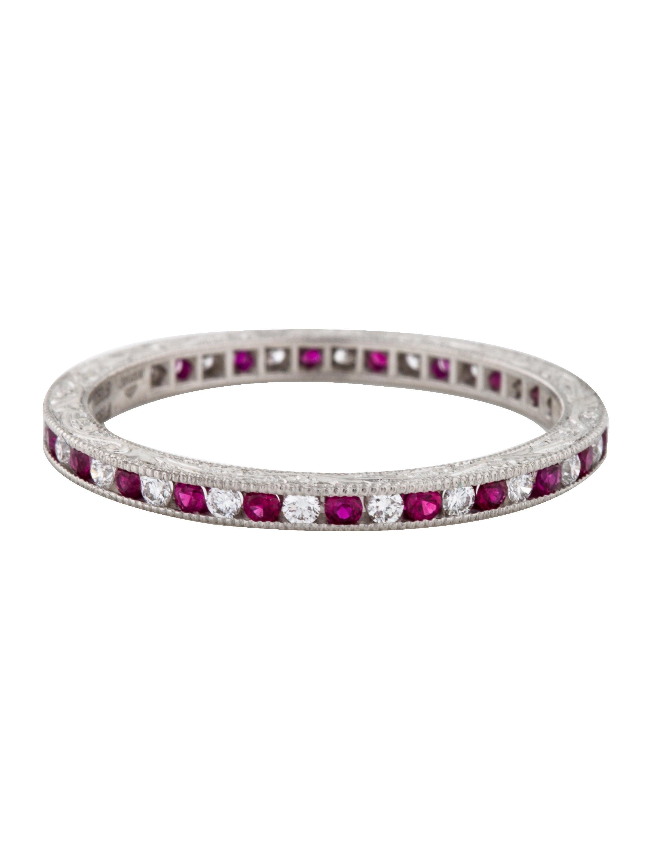 kwiat platinum ruby eternity band rings