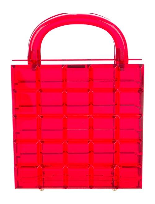 L'Afshar Lucite Handle Bag Red