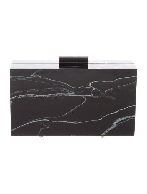 L'Afshar Marble Box Clutch Black