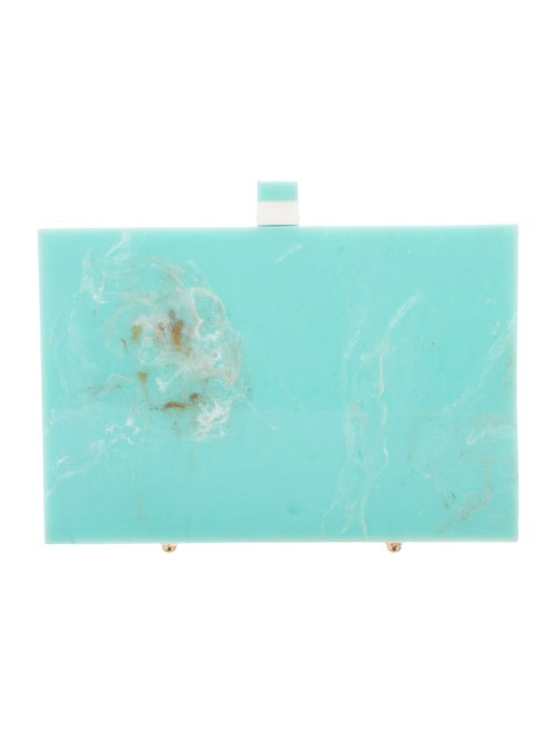 L'Afshar Marble Box Clutch Green