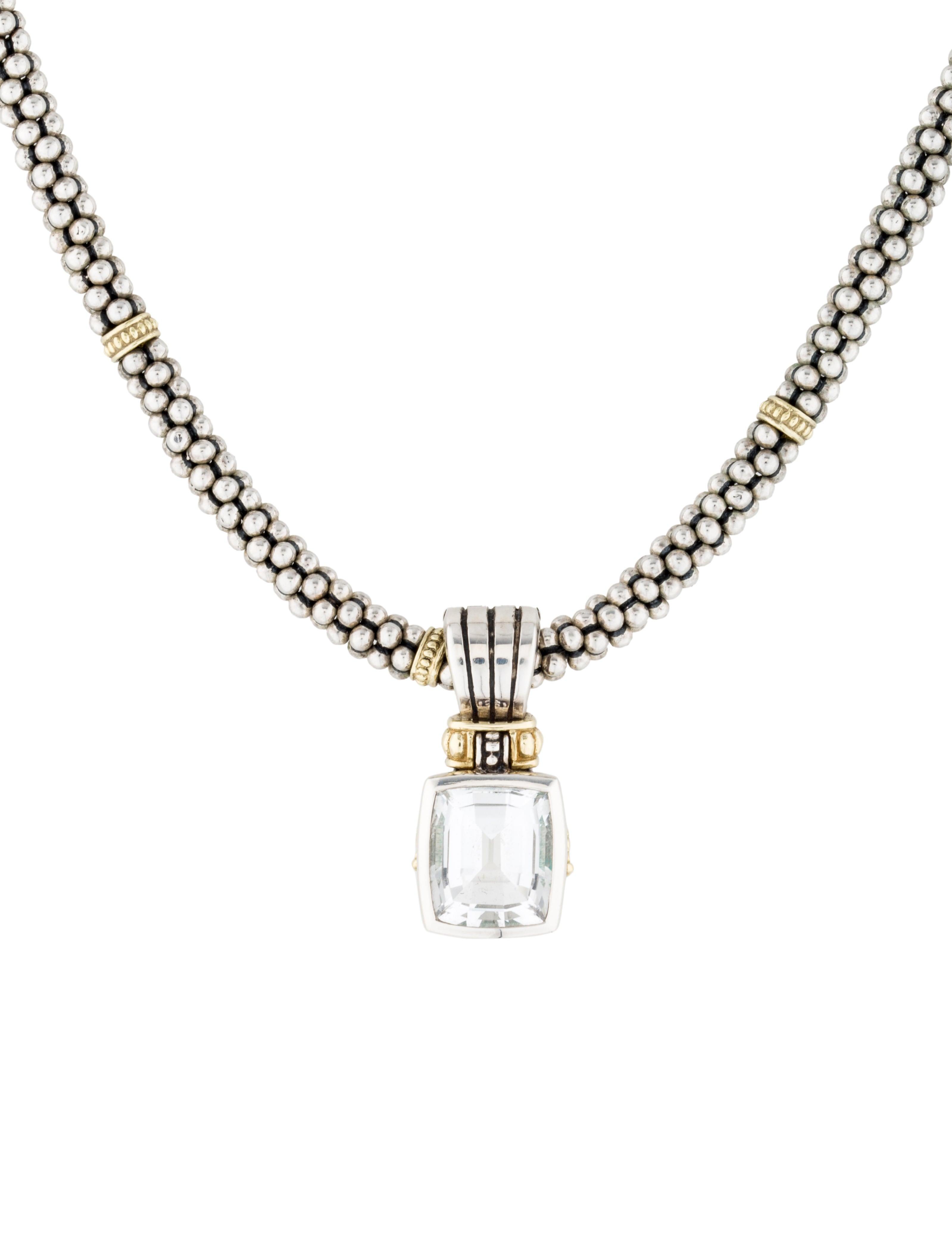 lagos two tone white topaz pendant necklace necklaces