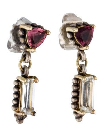 Pink Tourmaline & White Topaz Drop Earrings