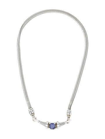 Lagos Two-Tone Iolite Caviar Pendant Necklace