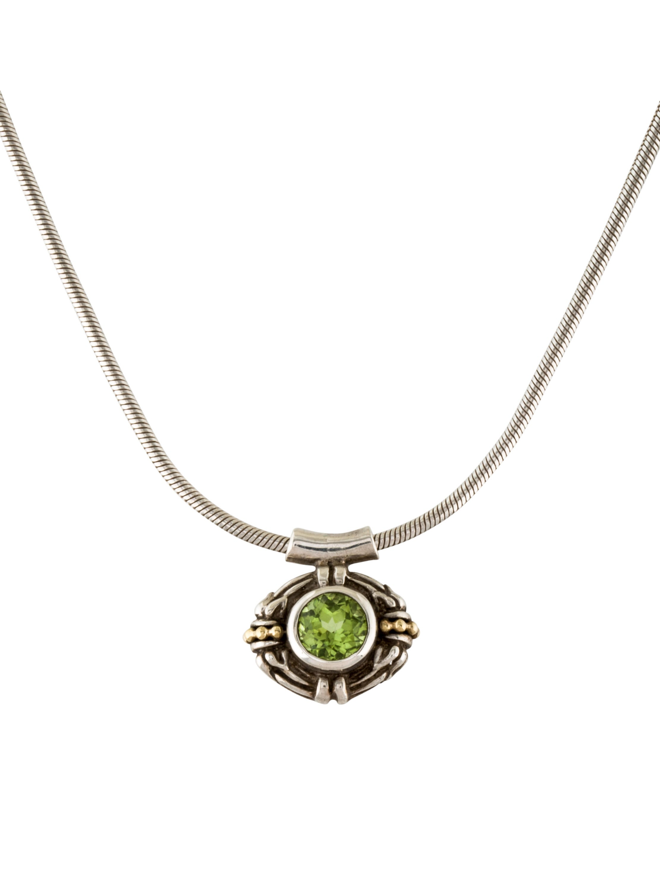 lagos two tone peridot pendant necklace necklaces