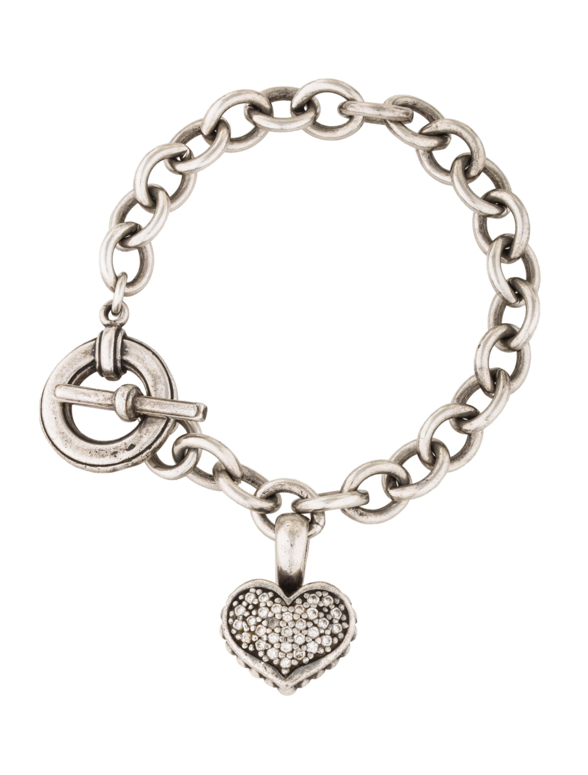 lagos twotone diamond heart charm bracelet bracelets