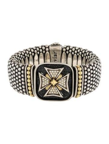 Lagos Diamond Cross Caviar Link Bracelet None