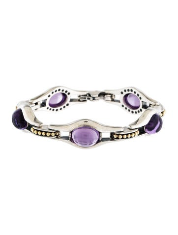 Lagos Caviar Two-Tone Amethyst Link Bracelet None