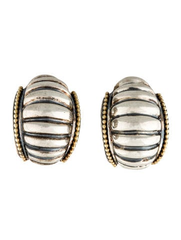 Lagos Two-Tone Ribbed Earclip Earrings None