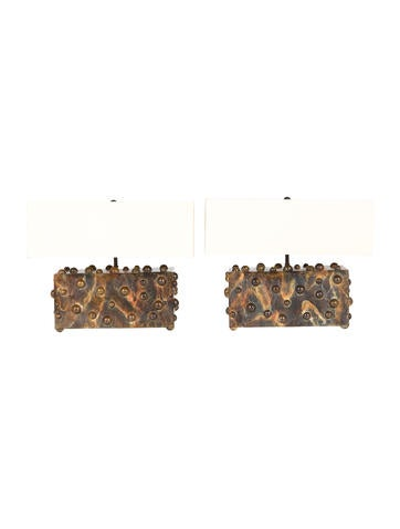 Set of Two Lika Moore Studded Bronze Table Lamps