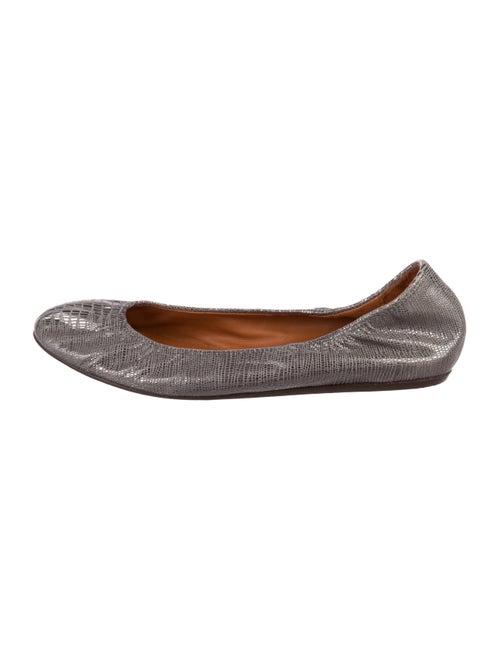 Lanvin Embossed Metallic Flats Silver