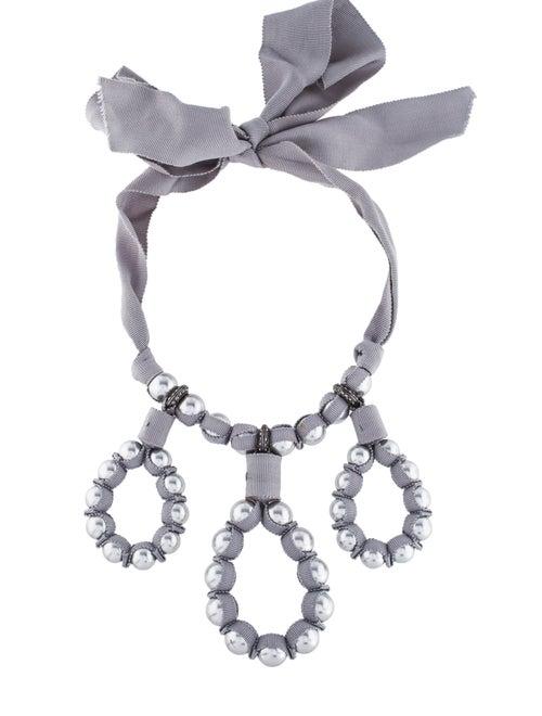 Lanvin Crystal & Faux Pearl Loop Collar Necklace G