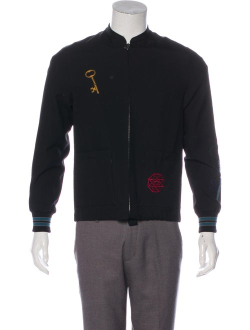 Lanvin Patch Embroidered Wool Jacket black