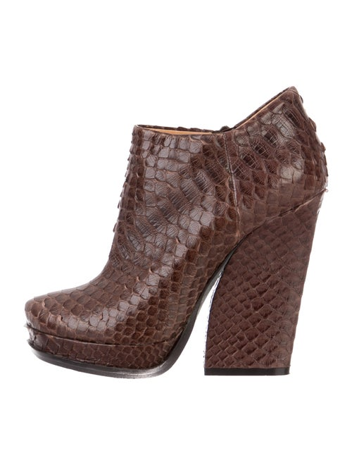 Lanvin Snakeskin Ankle Boots Brown