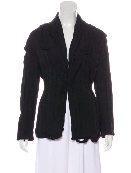 Lanvin Woven Collarless Blazer Black