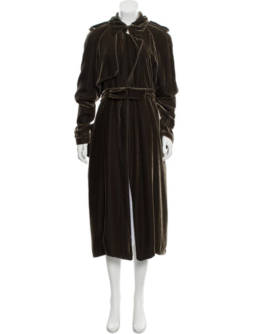 Lanvin Long Belt-Accented Jacket Olive