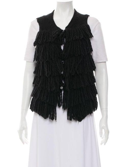 Lanvin Fringe Wool-Blend Vest Black