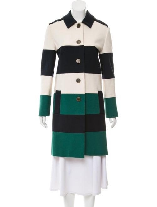 Lanvin Striped Coat Green