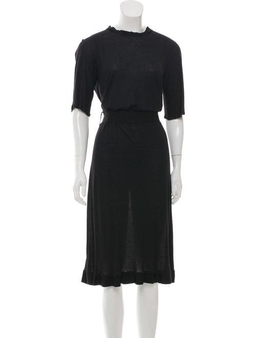 Lanvin Ruffle-Trimmed Midi Dress Black