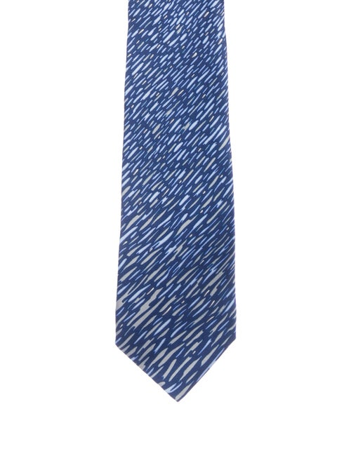 Lanvin Printed Silk Tie w/ Tags blue