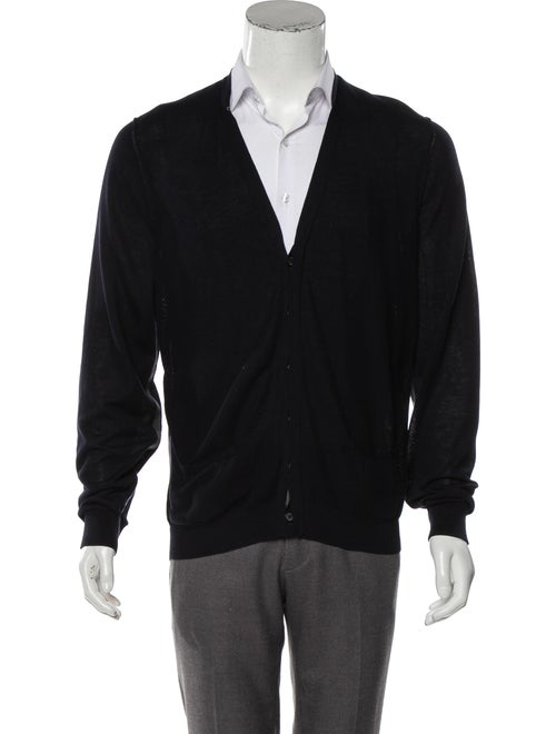 Lanvin Knit Shawl Collar Cardigan navy