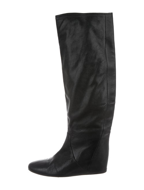 Lanvin Leather Round-Toe Over-The-Knee Boots Black